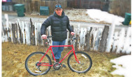 Dave Wiens shows of his Race Townie Bicycle